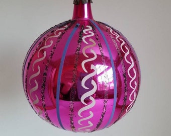 Vintage Large Fancy Pink Glass Christmas Ornament * Poland