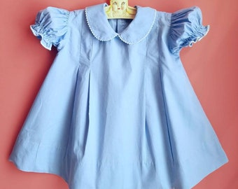 Vintage Classic Toddler Girls Dress * Cotton * Puffed Sleeves * Baby Dress * Easter Dress * Size 2  * Size 3