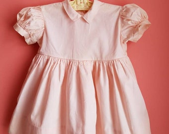 Vintage Classic Toddler Girls Dress * Cotton * Puffed Sleeves * Baby Dress * Pink Easter Dress * Size 2  * Size 3