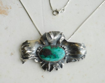 Ready to Ship, Turquoise Chrysocolla Necklace, Teal Green Jewelry, Sterling Silver Brooch