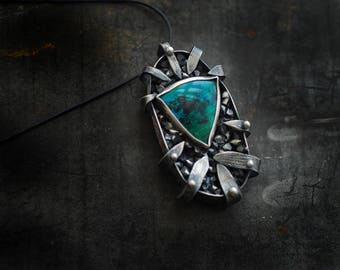 Warrior Pendant, Silver Shield Necklace, Chrysocolla Natural Gemstone, Blue Stone Necklace, Wearable Art Necklace