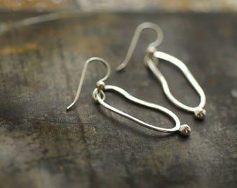 9fbc484f6 Oval Silver Earrings, Ball Dangle Earrings, Fine Silver Sterling Silver,  Minimalist Simple Earrings, Everyday Wear, Lightweight Hoop Jewelry