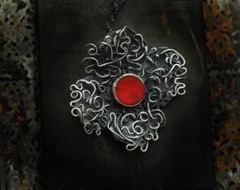 Poppy Flower Necklace, Scribble Art, Scrollwork Pendant, Sterling Silver Filigree, Bakelite Jewelry, Handmade Assemblage, Remembrance Day