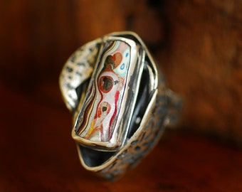 Fordite Ring, Detroit Agate, Statement Ring Sterling, Colorful Ring, Handmade Metalsmith, Wearable Art, Unique Unusual, Gift for Artist