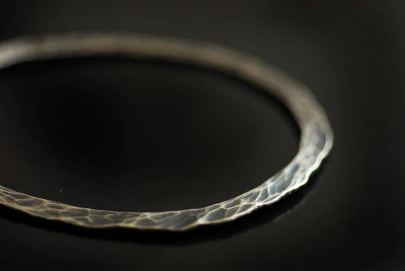 Thick Silver Bangle Stacking Bangle Black Bracelet Heavy Sterling Jewelry Textured Bangle Ripple Jewelry