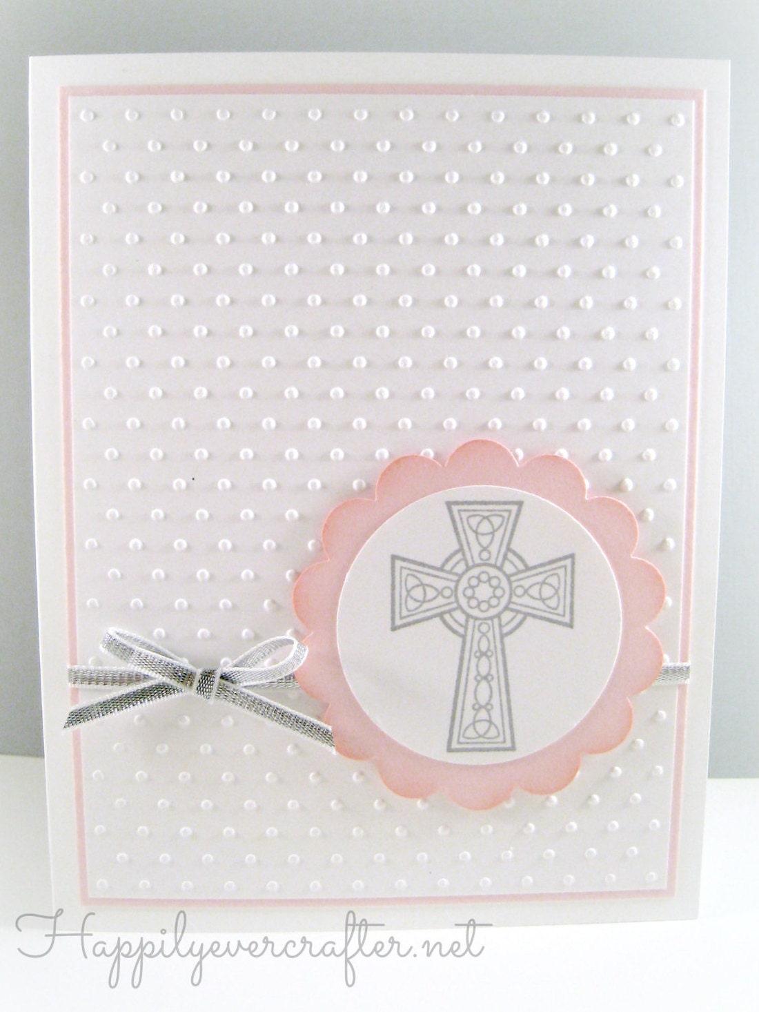 Girl Religious Cross Card Girl Baptism Card Christening Etsy