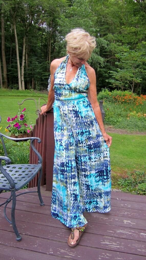 6f385fa847 Item  26B Boho Palazzo Pants   Halter Top Vintage Inspired Women s 1970s  Size 8