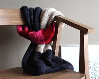knit infinity scarf in NAVY BERRY - wrap scarf - vegan friendly
