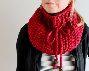 the soran ribbed cowl in CRANBERRY - wool blend - ready to ship - FREE SHIPPING