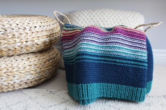 handknit LILY PAD blanket vegan friendly OOAK chunky knits