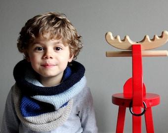 kids knit barrel cowl in ARCTIC BLUE stripes (vegan friendly)
