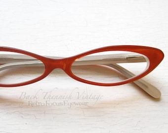 ab881fe72649 Slim Sexy Cat Eye Eyeglass Frames Vintage 90 s NOS Red French Style Glasses  Spring Hinge Narrow Glasses Skinny Eyeglasses