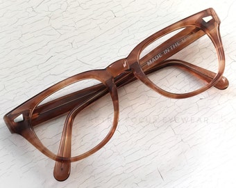 Wide NOS 60's Hipster Hornrim Eyeglasses Chunky Eyewear Frames Strawberry Red Auburn Ginger Blonde Tortoise Pathway Optical USA
