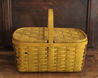 """18"""" Bentwood Oak Hinged Lid Large Yellow Woven Splint Wood Picnic Basket Wooden Primary Color Fiesta Harlequin Companion Summer Vintage"""
