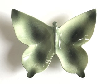 """5 5/8"""" Butterfly Dish Mid Century 60's 70's Orange Brown Home Decor Wall Plate Green Lining"""