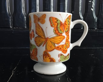 8oz Japanese Porcelain Orange Kiwi Green Milk Glass Butterfly Pedestal Mug Cup