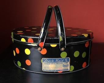 Biscuit Tin w Handles Basket Irreverent Polka Dot Gypsy Colorful Artsy Black Orange Yellow Kiwi Home Decor Metal Lid Sewing Craft Storage