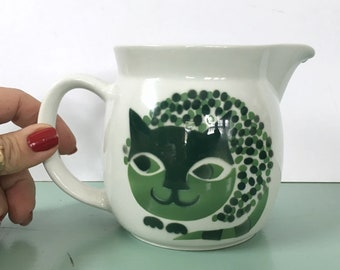 16oz Kaj Franck Arabia of Finland Cat Lovers Pitcher Green Creamer Netherlands Finnish Potters Artist 1960's Mid Century Decor Milk Jug