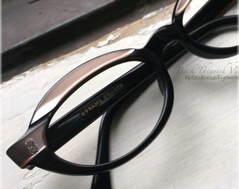 304165d426 50 s Futuristic French Oval Browline Eyeglass Frames Black Pink Champagne  made in France Back Thennish Vintage