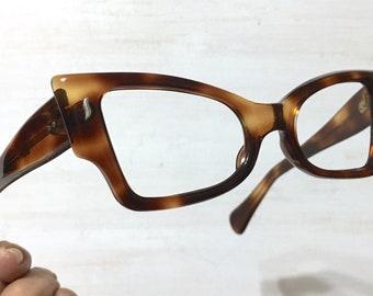 3caa1ff4464 French NOS Extreme Angular Square Cat Eye Glasses Eyeglass 50 s Vintage NOS  Frames Dark Warm Tortoise