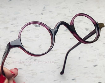 5312197b2ba9 38-27-140 Itty Bitty Purple Black Round Acetate Eyeglass Frames 90s  Eyeglasses Quirky True Vintage NOS Wide Bridge Eyewear Glasses Unisex
