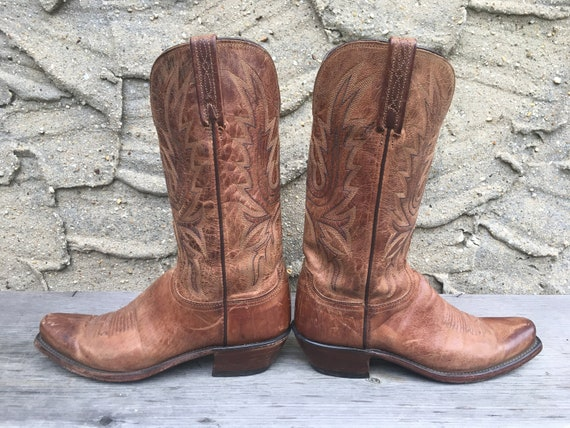 e6e5a8dd655 8.5-9 Lucchese Square Toe Cowboy Boots Vintage 80's Women's Distressed  Western Wear Camel Warm Walnut Tan Brown Ladies Womens