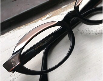 50's Futuristic French Oval Browline Eyeglass Frames Black Pink Champagne made in France Back Thennish Vintage