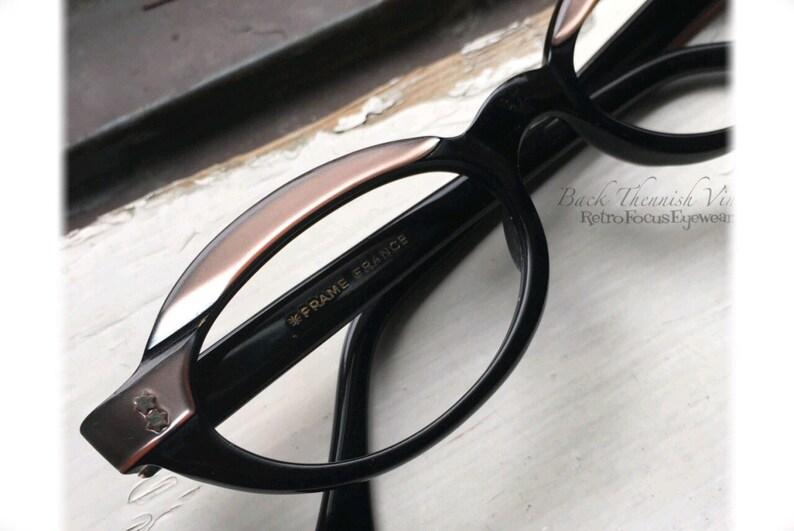 491df2f9283 50's Futuristic French Oval Browline Eyeglass Frames Black   Etsy