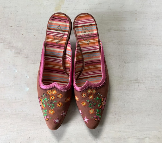 90's Oilily Bohemian Embroidered Mules
