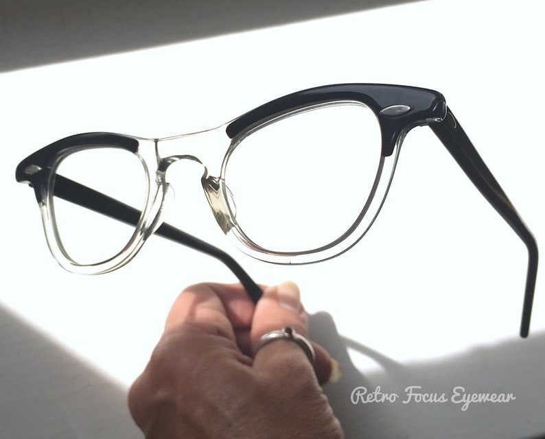 d180c03a12c 42-22-140 SRO 60 s Hornrim Eyeglasses Eyewear Frames Back Thennish Vintage  Retro Focus Eyewear Black Clear NOS 50 s