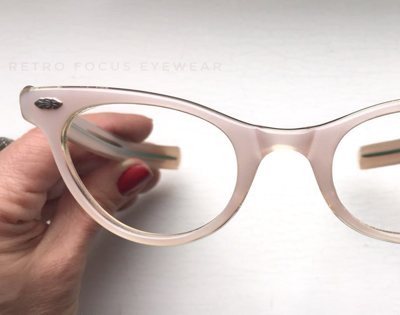 9d438f0eae4 NOS 50 s Pink Peach Nude Pale Flesh Eyewear Frames Cat Eye