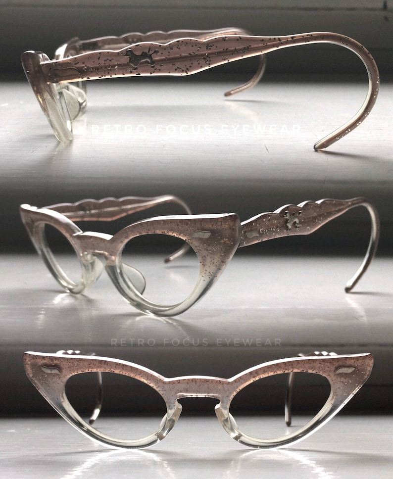 248da270a991 Petite Fit Poodle Titmus USA Brown Fade to Clear Eyewear   Etsy