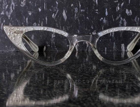 dec113c98733 40-22-130 Petite Fit Pearlized White Sparkle NOS Cat Eye   Etsy