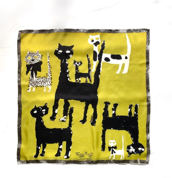 "31"" Maggy Rouff Silk Square Cat Scarf Vintage 50's"