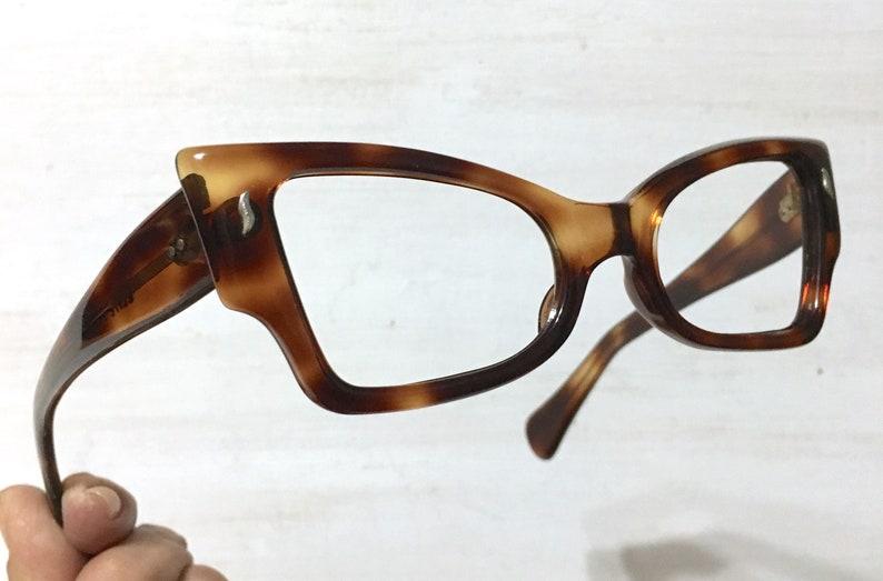 c6e06695888 French NOS Extreme Angular Square Cat Eye Glasses Eyeglass