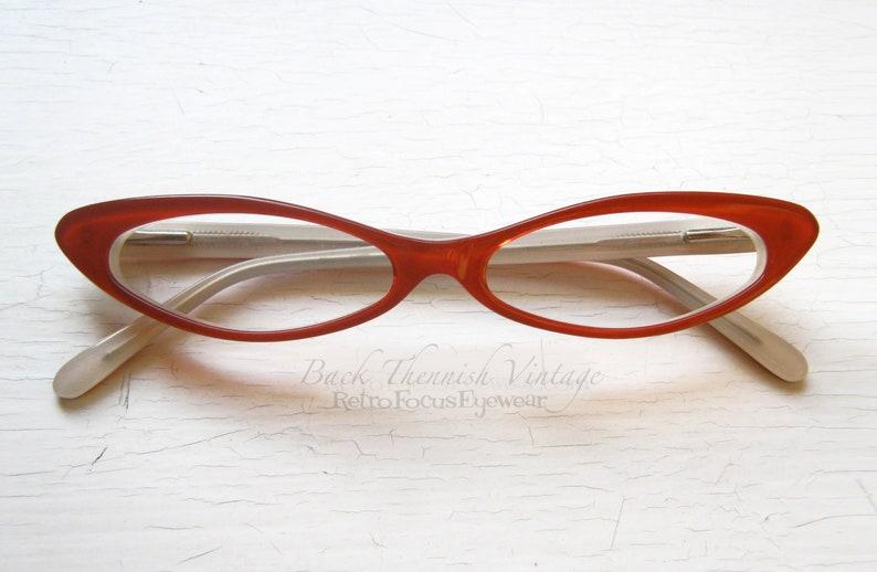 600a385bae3 Slim Sexy Cat Eye Eyeglass Frames Vintage 90 s NOS Red