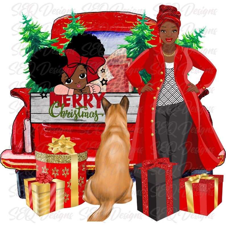 African American Mom Daughter Country Christmas And Dog Sublimation Transfer