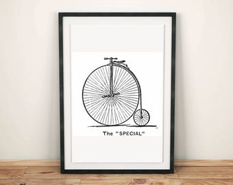 Victorian bicycle penny farthing clip art illustration graphic design printable transfer image scrapbook digital stamp instant download JPG