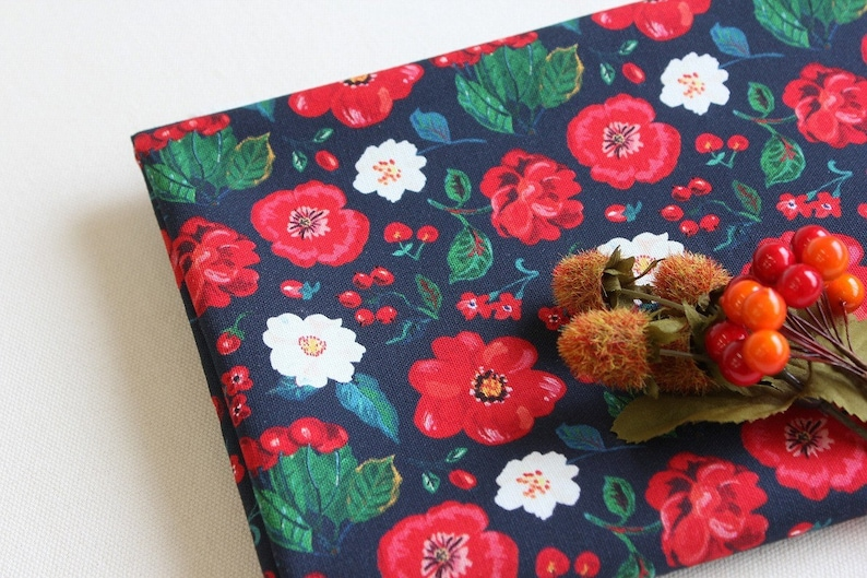 12 YD-Nathalie Lete Design Fabric-cotton-Flowers and Cherry dark blue Oxford Medium Weight Cotton