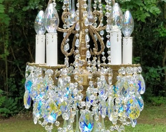 Small chandelier etsy small crystal chandelier small vintage chandelier aurora borealis chandelier french chandelier vintage lighting home decor aloadofball Images