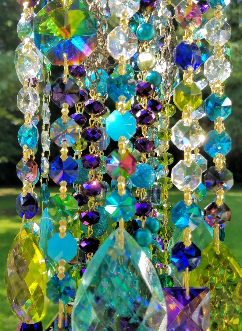 Crystal Wind Chime Multi Color Wind Chime Bohemian Wind Chime Peacock Wind Chime Antique Crystal Sun Catcher Crystal Art Garden Decor