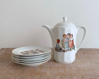 Vintage Child's German Transferware Teapot and Tea Party Set - 5 plates, 2 cups, 1 teapot