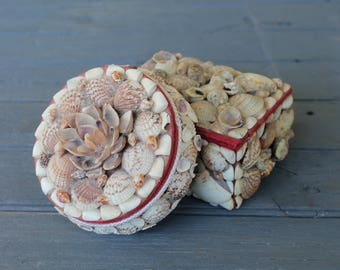 Pair of Vintage Seashell Boxes, Nautical Decor, Beach House Curiosities, Sailors Valentine, Red Velvet Trim