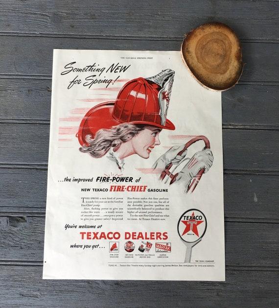1940 TEXACO FIRE CHIEF REPLICA METAL SIGN FIREMAN FIRE HOSE FIRE FIGHTER