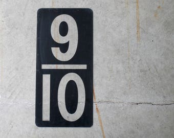 LARGE Vintage Service Station Numbers, Nine Tenths, 9/10ths, Fractions, Plastic Gas Station Signage, Black / Clear, Industrial Mancave Cool
