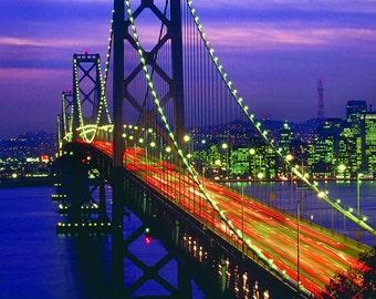 San Francisco Bay Bridge Photograph Bridge Photo Night Photo
