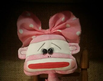 Pink Sock monkey with mini Sock monkey hand painted