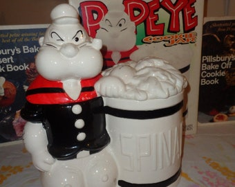 Retro Kitschy Popeye the Sailor Man and Spinach Can Cookie Jar has Box