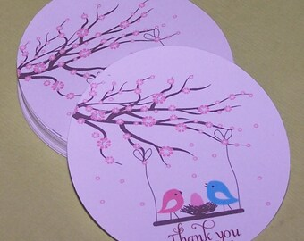Cherry blossom Baby shower thank you stickers (set of 12)