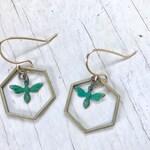 Verde honey bees in hexagon hoops, verde patina earrings, honey bee earrings , hexagon hoops, rising dawn boutique